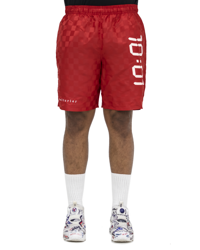 culturier® on umbro checkered soccer trunks. [Red]