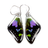 Butterfly Wing Earrings, Purple Spotted Swallowtail, top wings
