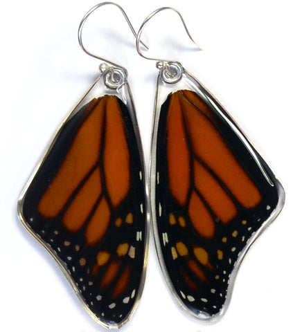 Butterfly earrings, Monarch, top wings