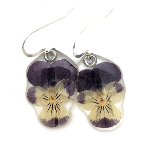 69086 Purple Johnny Jump Up Earrings