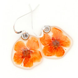 64029 Orange Bridal Wreath Flower Earrings