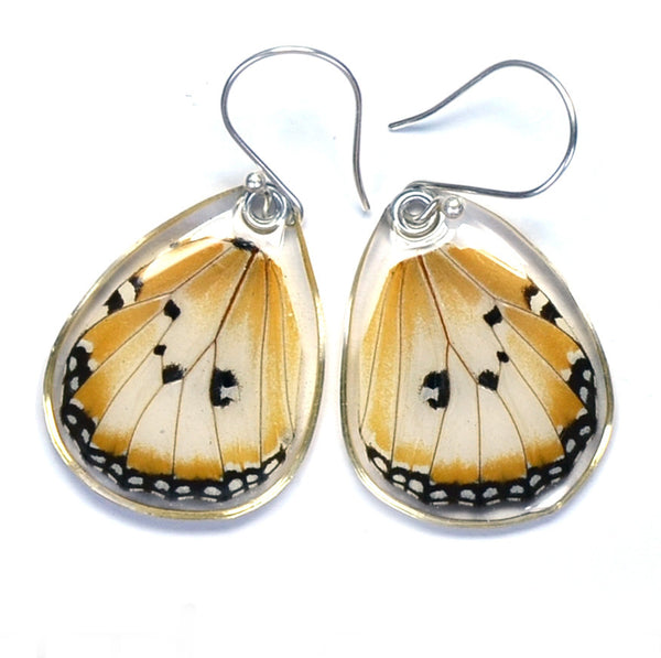 Butterfly earrings, African Monarch Butterfly, bottom wings