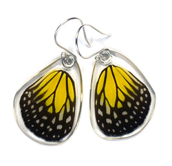 Butterfly Earrings, Yellow Glassy Tiger, Bottom Wing