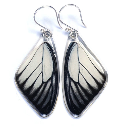 Butterfly Earrings, Red Spot Sawtooth, Top Wing