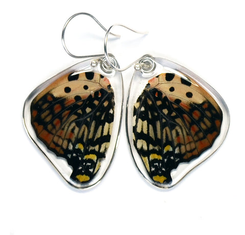 Butterfly Earrings, Shining Red Charaxes, Bottom Wing