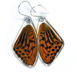 Butterfly Earrings, Pallas' Fritillary, Top Wing