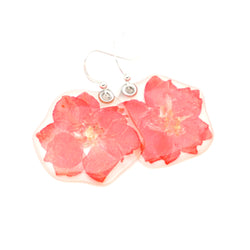 63205 Hot Pink Larkspur Flower Earrings