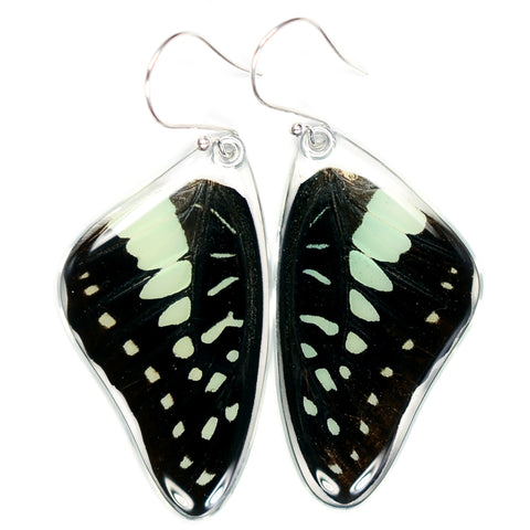 Butterfly Earrings, Pale Green Triangle, Top Wings