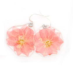 63040 Light Pink Larkspur Flower Earrings