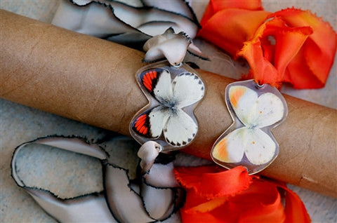 Whole Butterfly Wrap Bracelet - Smokey Orange Tip Butterfly