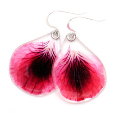 63016 Dark Pink Geranium Petal Earrings