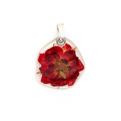 61605 Tiny Whole Red Rose flower pendant