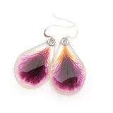 61612 Dark purple with white edges Geranium Petal Earrings