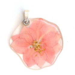 Light Pink Larkspur Flower Pendant