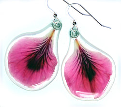 Pink Geranium Petal Earrings