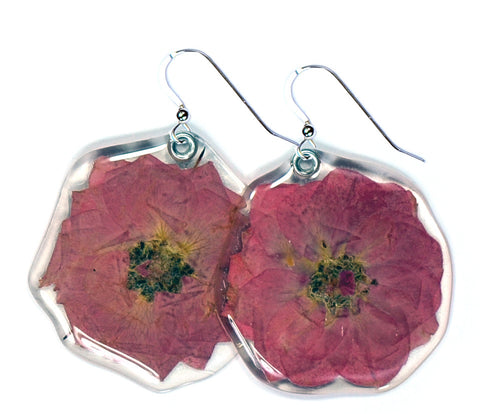 Whole Miniature Pink Rose Blossom earrings