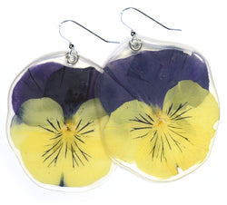 Large yellow and blue pansy Earrings