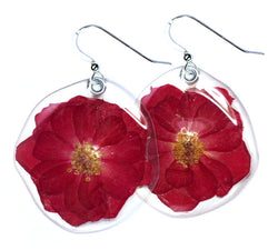 Whole Miniature Red Rose Blossom Earrings