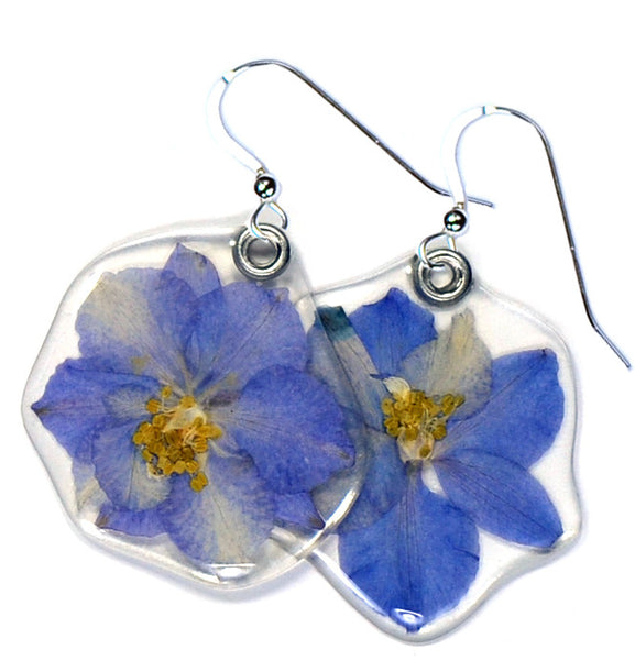 Blue larkspur earrings