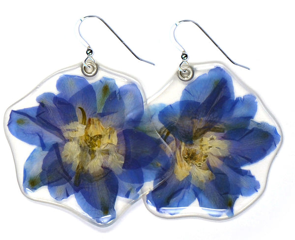 Blue Delphinium Double Flower Earrings