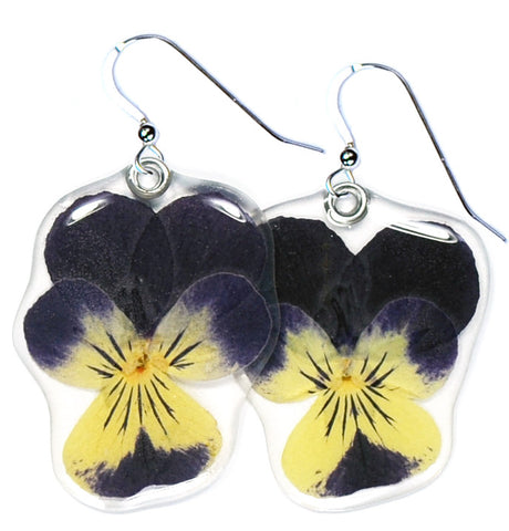 Purple Whiskered Pansy Earrings