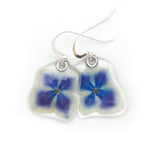 69100 Small Blue and White Hydrangea flower earrings