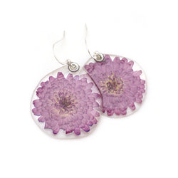 69108 Miniature Mum Pink Flower Earrings