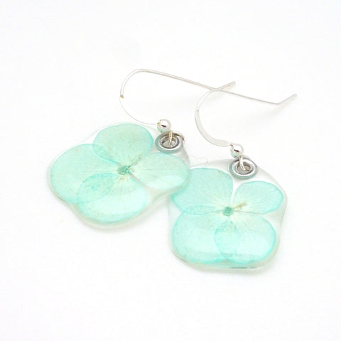 69111 Tiny Teal Hydrangea Earrings