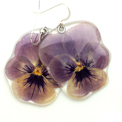 69212 Lavender Pansy Earrings