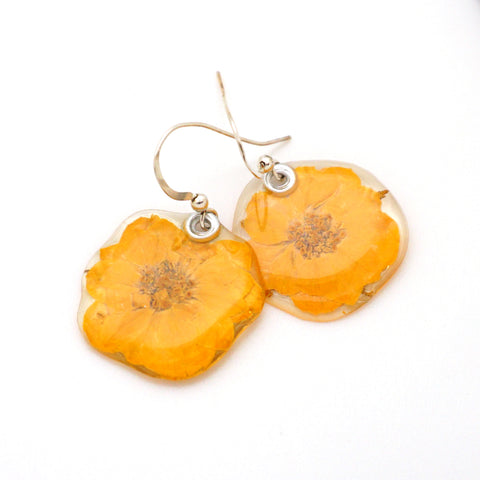 69215 Miniature Whole Yellow Rose flower earrings