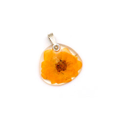 69215 Tiny Whole Yellow Rose flower pendant