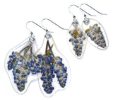 Blue Sage (Salvia) flower earrings