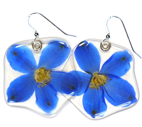 Blue Delphinium Single Flower Earrings