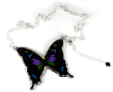 Whole Butterfly Necklace, Purple Spotted Swallowtail