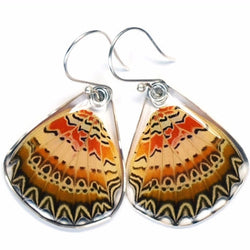 BU-0060-B-ER<BR>Butterfly earrings, Cethosia Biblis Biblis, bottom wings