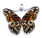 BU-0210-WP<BR>Whole Butterfly Pendant, Mexican Silverspot Butterfly
