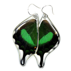 BU-0510-B-ER<BR>Butterfly Earrings, Emerald Swallowtail, Bottom Wings