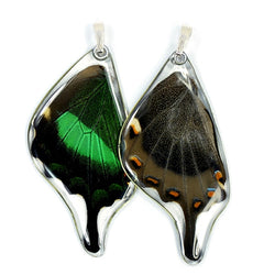 BU-0510-B-PE<BR>Butterfly Pendant Only, Emerald Swallowtail, Bottom Wing
