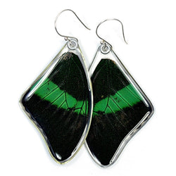 BU-0510-T-ER<BR>Butterfly Earrings, Emerald Swallowtail, Top Wings