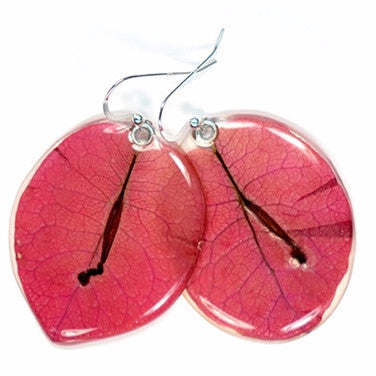 Pink Bougainvillea petal earrings