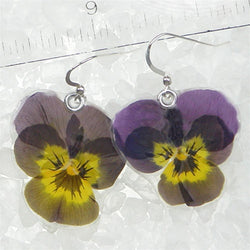Small purple pansy earrings