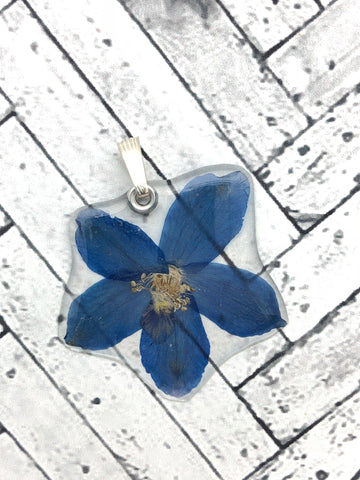 Blue Delphinium Single Flower Pendant