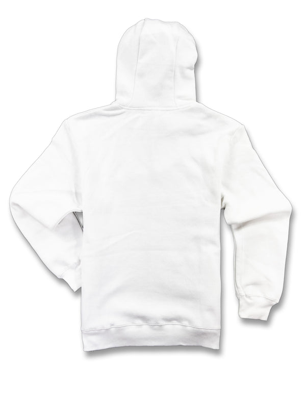 WHITE FLEECE HOODED SWEATSHIRT FLAME LOGO