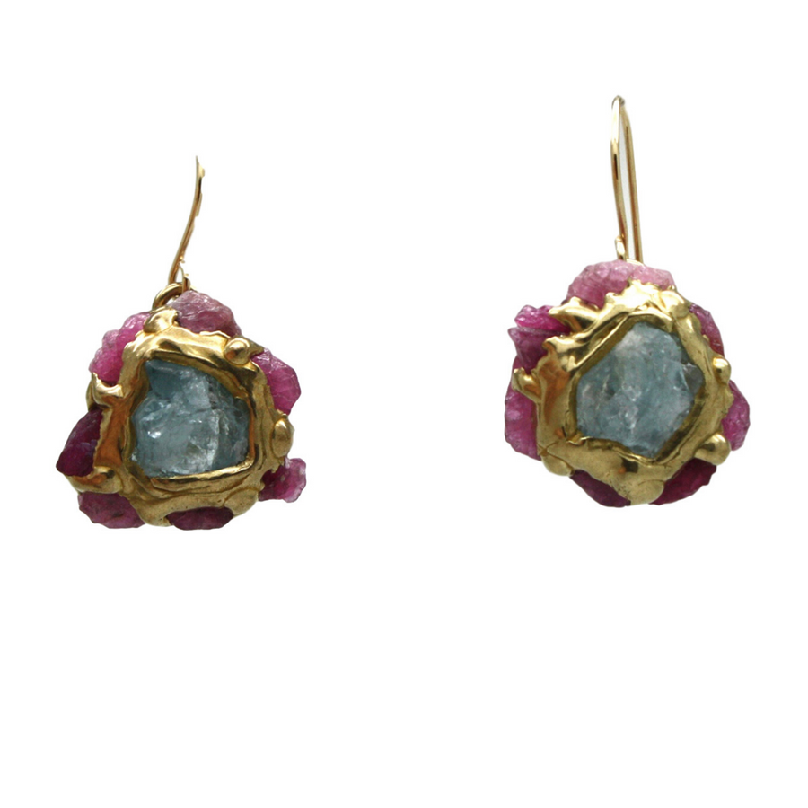 Hydra Earrings With Aquamarines + Rubies In Brass