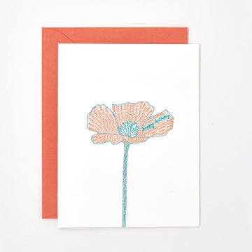 Birthday Poppy Letterpress Card