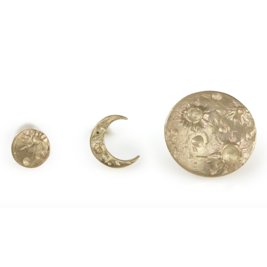 Full Moon Diamond Studs In Gold Or Silver With Diamonds