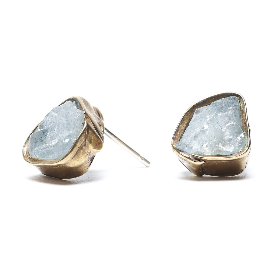 Solo Immersion Studs With Aquamarines In Brass