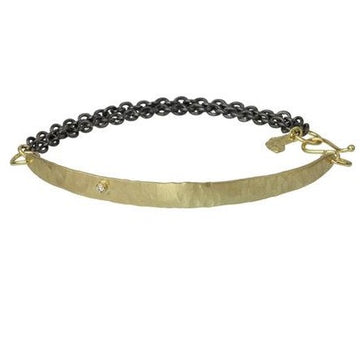 Long Seagrass & Diamond Bracelet In 18k Gold