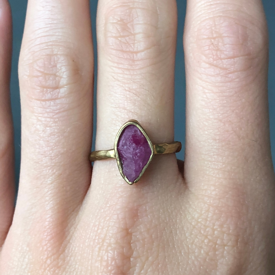 Guardian Ring With A Ruby In Brass