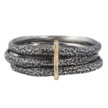 Textured Stapled Stack - Sterling Silver + 14k Gold